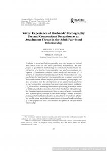 Wives' Experience of Husbands' Pornography Use and Concomitant Deception as an Attachment Threat in the Adult Pair-Bond Relationship