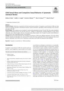 Child Sexual Abuse and Compulsive Sexual Behavior: A Systematic Literature Review