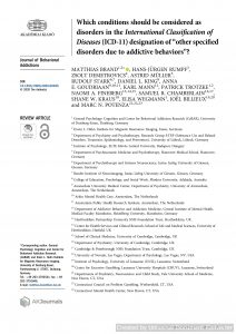 """Which conditions should be considered as disorders in the International Classification of Diseases (ICD-11) designation of """"other specified disorders due to addictive behaviors""""?"""