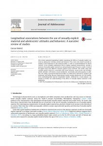 Longitudinal associations between the use of sexually explicit material and adolescents' attitudes and behaviors: A narrative review of studies