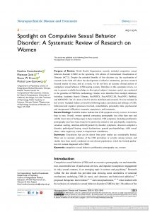 Spotlight on Compulsive Sexual Behavior Disorder: A Systematic Review of Research on Women