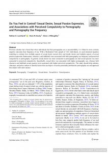 Do You Feel in Control? Sexual Desire, Sexual Passion Expression, and Associations with Perceived Compulsivity to Pornography and Pornography Use Frequency