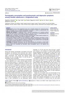 Pornography consumption and psychosomatic and depressive symptoms among Swedish adolescents: a longitudinal study