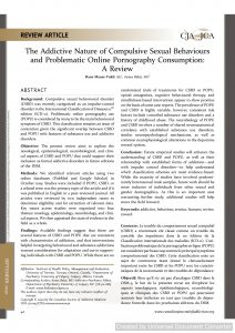 The Addictive Nature of Compulsive Sexual Behaviours and Problematic Online Pornography Consumption: A Review