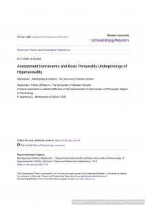 Assessment Instruments and Basic Personality Underpinnings of Hypersexuality
