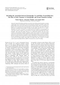 Revisiting the Association between Pornography Use and Risky Sexual Behaviors: The Role of Early Exposure to Pornography and Sexual Sensation Seeking