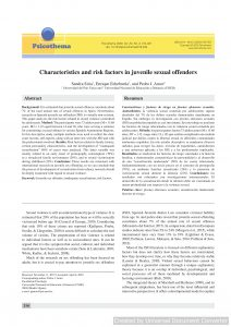 Characteristics and risk factors in juvenile sexual offenders