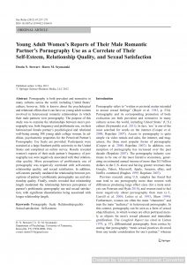 Young Adult Women's Reports of Their Male Romantic Partner's Pornography Use as a Correlate of Their Self-Esteem, Relationship Quality, and Sexual Satisfaction