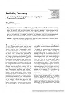 Rethinking Democracy: Legal Challenges to Pornography and Sex Inequality in Canada and the United States