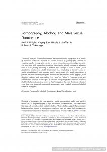 Pornography, Alcohol, and Male Sexual Dominance