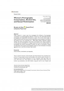 Women's Pornography Consumption, Alcohol Use, and Sexual Victimization