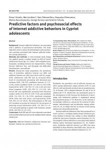 Predictive factors and psychosocial effects of Internet addictive behaviors in Cypriot adolescents