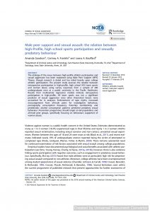 Male peer support and sexual assault: the relation between high-Profile, high school sports participation and sexually predatory behaviour