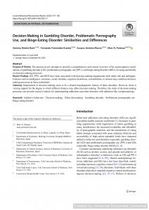 Decision-Making in Gambling Disorder, Problematic Pornography Use, and Binge-Eating Disorder: Similarities and Differences