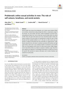 Problematic online sexual activities in men: The role of self‐esteem, loneliness, and social anxiety