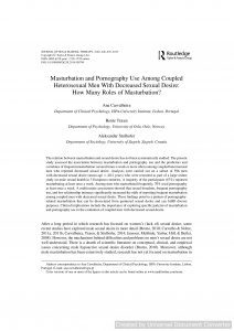 Masturbation and Pornography Use Among Coupled Heterosexual Men With Decreased Sexual Desire: How Many Roles of Masturbation?
