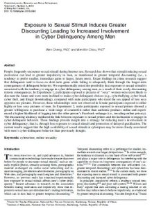 Exposure to Sexual Stimuli Induces Greater Discounting Leading to Increased Involvement in Cyber Delinquency Among Men