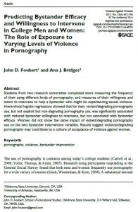 Predicting Bystander Efficacy and Willingness to Intervene in College Men and Women: The Role of Exposure to Varying Levels of Violence in Pornography