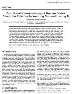 Functional Neuroanatomy of Human Cortex Cerebri in Relation to Wanting Sex and Having It