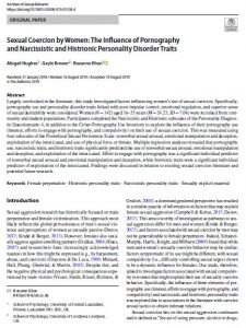 Sexual Coercion by Women: The Influence of Pornography and Narcissistic and Histrionic Personality Disorder Traits