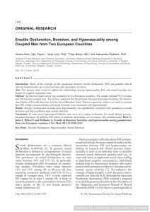 Erectile Dysfunction, Boredom, and Hypersexuality among Coupled Men from Two European Countries