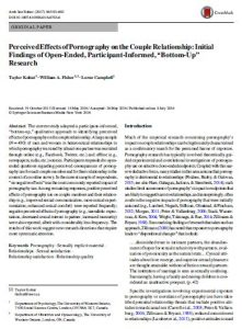 """Perceived Effects of Pornography on the Couple Relationship: Initial Findings of Open-Ended, Participant-Informed, """"Bottom-Up"""" Research"""