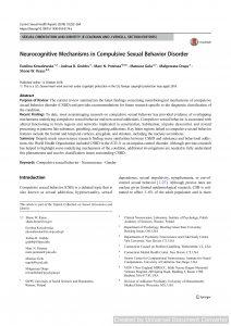 Neurocognitive Mechanisms in Compulsive Sexual Behavior Disorder