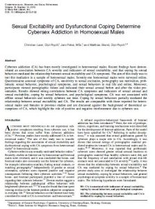 Sexual Excitability and Dysfunctional Coping Determine Cybersex Addiction in Homosexual Males
