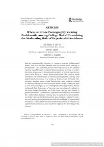 When is Online Pornography Viewing Problematic Among College Males? Examining the Moderating Role of Experiential Avoidance