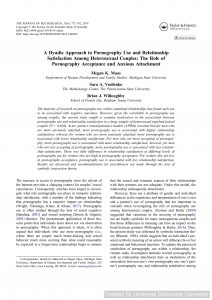 A Dyadic Approach to Pornography Use and Relationship Satisfaction Among Heterosexual Couples: The Role of Pornography Acceptance and Anxious Attachment
