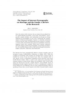 The Impact of Internet Pornography on Marriage and the Family: A Review of the Research