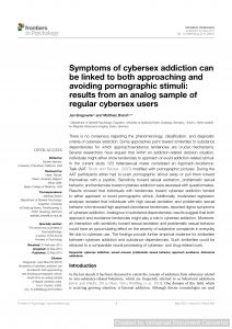 Symptoms of cybersex addiction can be linked to both approaching and avoiding pornographic stimuli: results from an analog sample of regular cybersex users